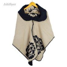 jzhifiyer YX180 Fashion 300 Grams Women Poncho Cashmere Floral Pattern Turn-down Collar Scarf Capes