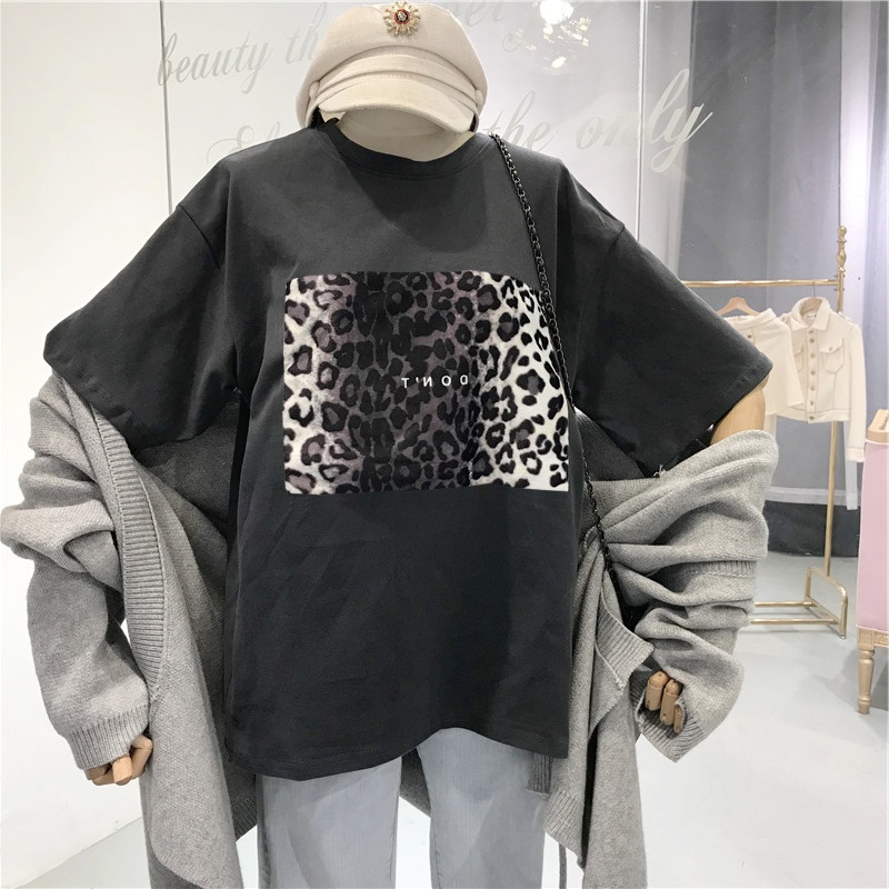 Harajuku Vintage Women Tshirt Summer New Design Leopard Print T-shirts Korean Clothes Ulzzang Black T Shirt Loose White Top Tees