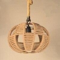 personality coffee restaurant lighting Retro industry American country Vintage wind rope chandelier bar door box deck net