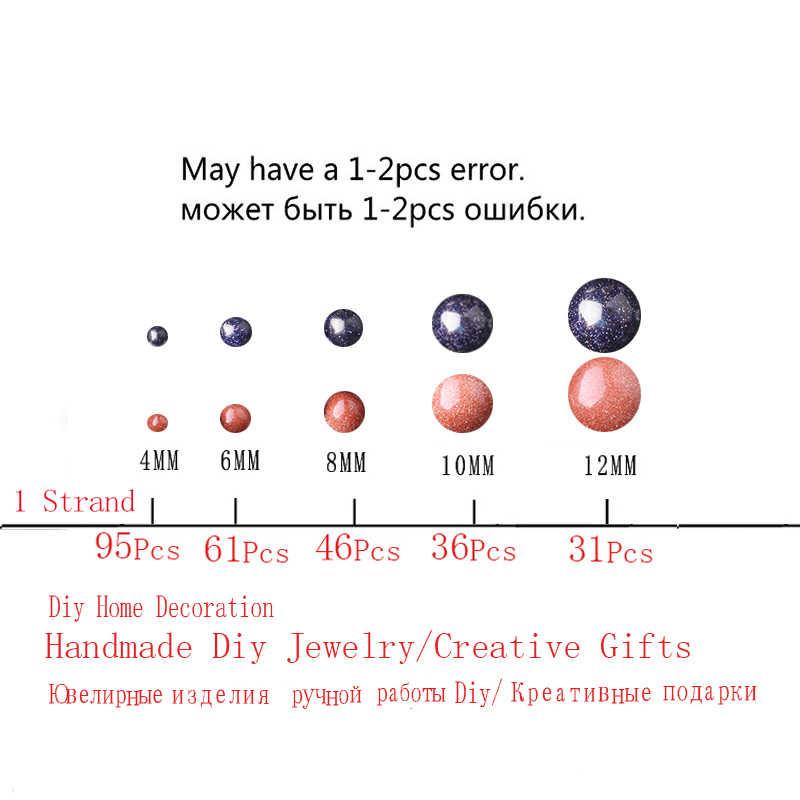 CAMDOE DANLEN Natürliche Edelstein Perlen Gold Blau Sand Stein 4 6 8 10 12mm Runde Lose Perlen Kugel Fit Diy für Charms Schmuck machen