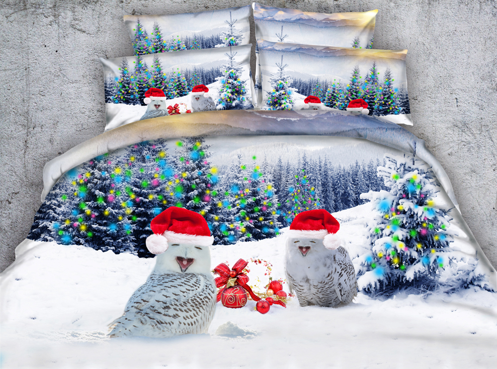 Copripiumino Matrimoniale Natale.Jf 279 Bello Dei Capretti Letto Singolo Set 4 Pz Natale Owl Stampa
