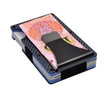 a04796c81f Sottile di alta Qualità In Fibra di Carbonio Mini ID Porta Carte di Credito  RFID Anti