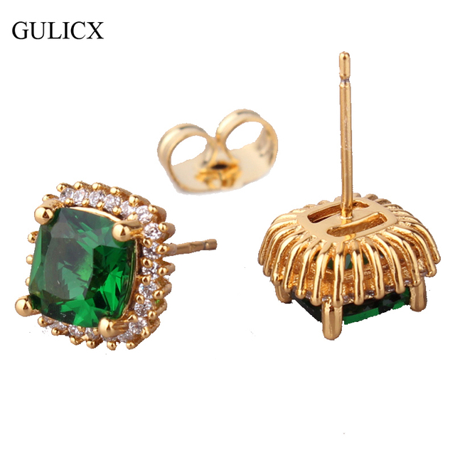 315a4d0a2 GULICX Fashion Yellow Pure Gold-color Studs Earrings for Women Princess Green  Stone Big Crystal CZ Zirconia Stud Jewelry E015