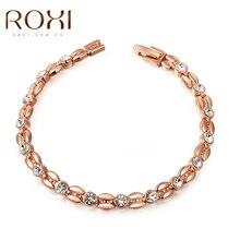 ROXI rose gold Crystal bracelet for Girls women ,Austrian crystal,Valentines Day/Birthday gift bracelet,lover bracelet,wholesale цена 2017