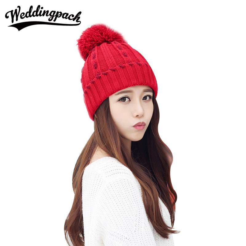 Knitted Women Beanies Caps Female Winter Hats With Mink Ball Autumn Female Skullies Hat Elastic Warm Beanies Wome's Accessories mink skullies beanies hats knitted hat women 5pcs lot 2299
