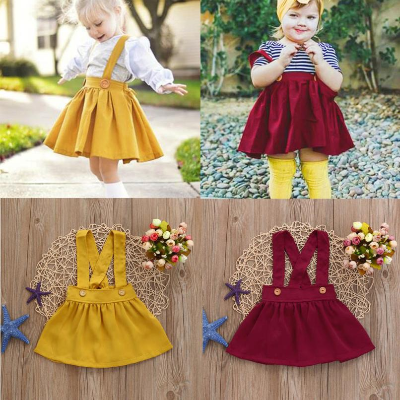 MUQGEW 2018 skirt for girl Baby girls clothes Toddler Kids Baby Girls Outfit Clothes Solid Strap Skirt Overalls skirt Outfits infant kids baby girls off shoulder floral tops skirt outfits sunsuit enfant children girl solid blue top print skirts 1 6y