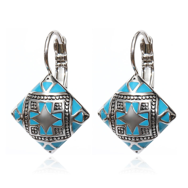 Hot New Fashion Vintage Emalje Geometrisk Square Drop Earring Sølv - Mode smykker - Foto 2