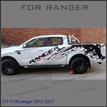 Links und rechts mudslinger ranger mit rot wildtrack körper hinten schwanz seiteninhalt vinyl für Ford ranger 2012-2017 aufkleber