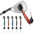 Щетка для чистки гольф-клуба двухсторонняя с брелком для гольфа с выдвижным инструментом на молнии