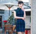 2016 Sexy Blue Grid Chinese Women Mini Dress Traditional Silk Satin Qipao Cheongsam Size S,M,L,XL,XX Chinese Traditional Dress