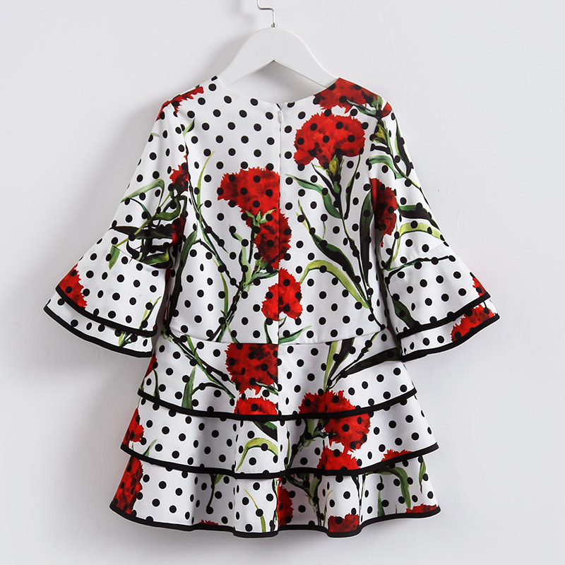 BEENIRA Fashion Autumn\Spring\ Summer girls dresses baby dot Carnation print Lotus leaf Hem for children princess dresses skull cat print crescent hem top