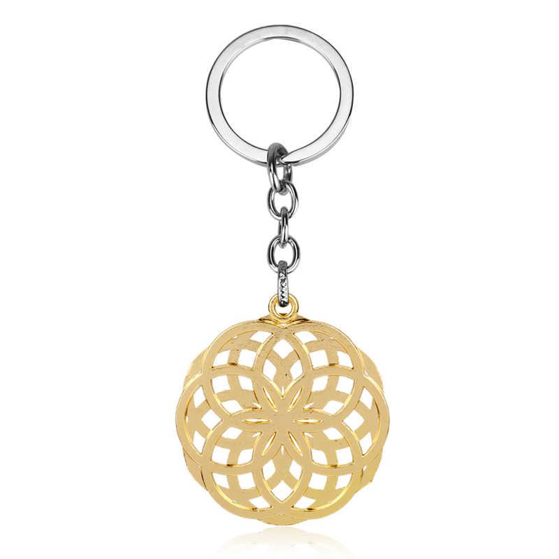 Dongsheng Винтаж цветок жизни брелок узел Начальная Мандала элегантный узор цепочка для ключей для Для мужчин Для женщин кабошон Цветочные украшения-5