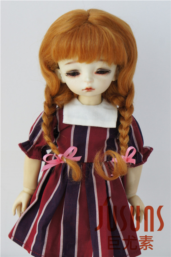где купить JD2031 1/6  mohair BJD doll wigs  6-7inch YOSD  Long Lovly Anna braid wig по лучшей цене