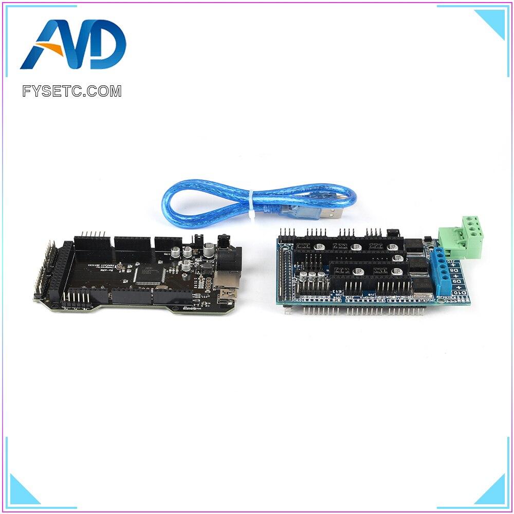 Imprimante 3D pièces RE-ARM carte de contrôle 32 bits mise à niveau Mega 2560 R3 + rampes 1.5 panneau de commande + 5pcs TMC2208 V1.2 UART moteur pilote - 4