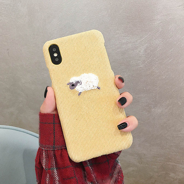 Warm Corduroy Phone Case For iPhone with Embroidered Animals
