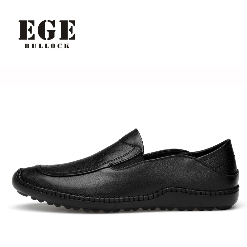 Men Loafers Genuine Cow Leather Breathable Soft Men Shoes Handmade High Quality Black Driving Shoes EGE Brand Causal Flats Men