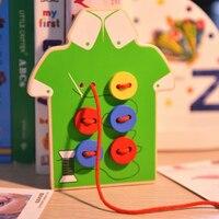 Children Hand Thread Button Game Wooden Puzzle Board Threading Toys Sewing Button Game Hand Eye Coordination