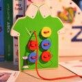 Children hand thread button game wooden puzzle board threading toys sewing button game hand eye coordination kid DIY educational