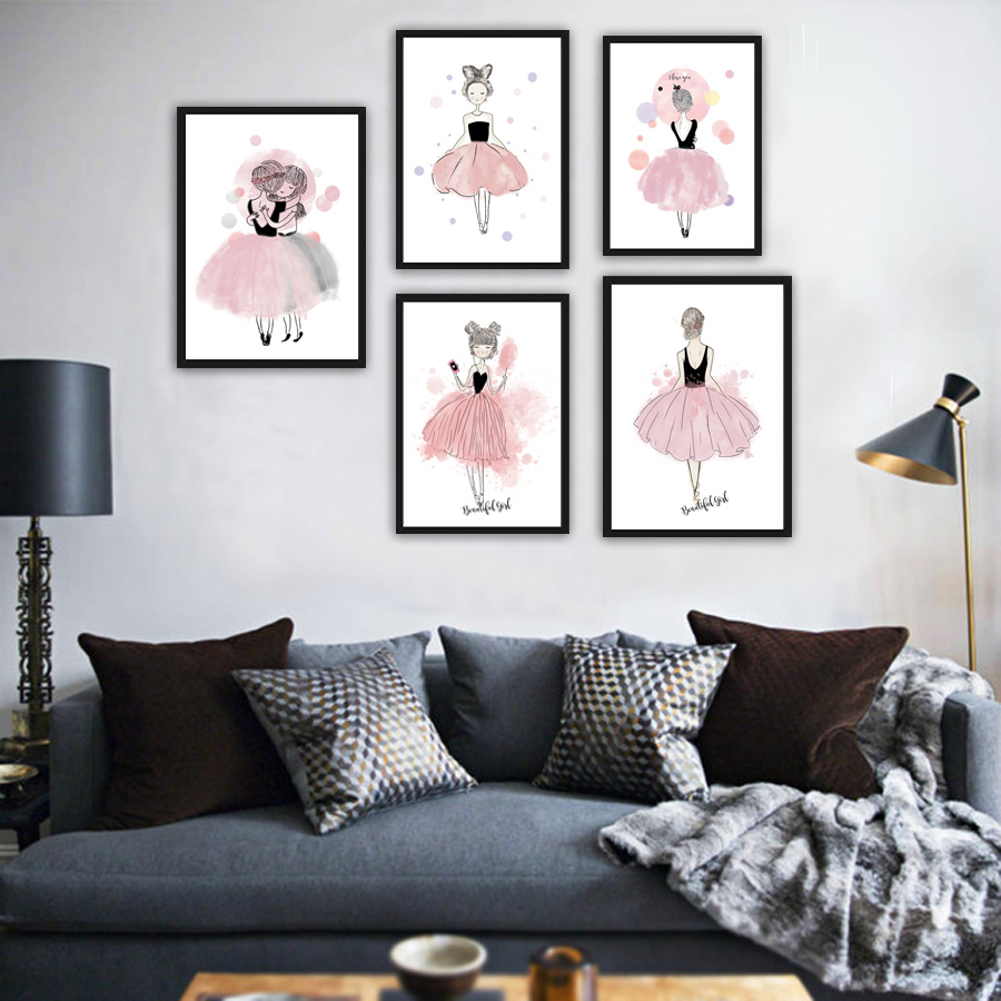 buy nordic modern watercolor art girl a4 painting poster on canvas for kids. Black Bedroom Furniture Sets. Home Design Ideas