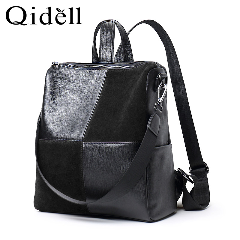 2018 Genuine Leather Large Capacity Soft Shouder Bag For Women with Soft Handle Silt Pocket Plaid Pattern chic plaid pattern fringed multifunctional loop yarn scarf for women
