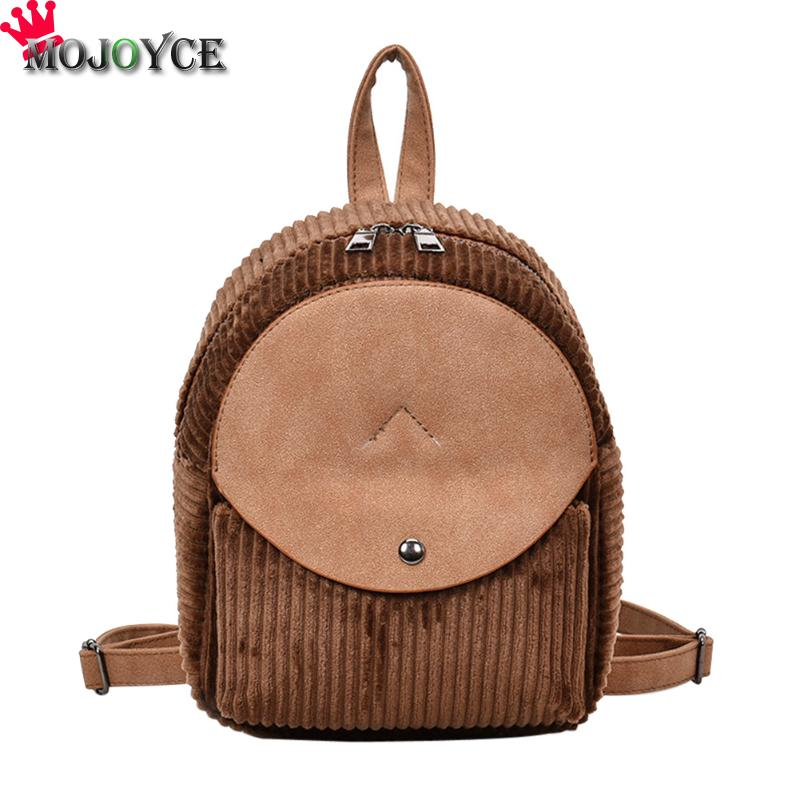 Korean Women Girls Corduroy Small Shoulder Bags Teenager Girls Students School Backpacks Fashion Travel Causal Backpacks