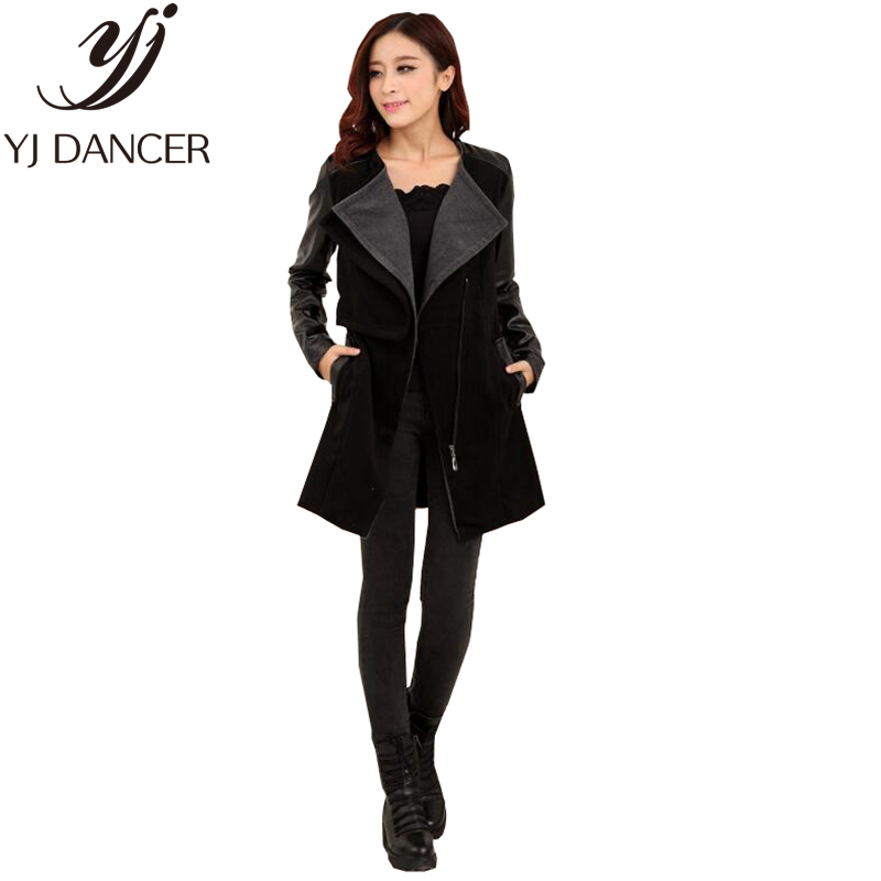 2018 Spring Autumn New Fashion Women's Clothing Casual style Slim fit Spliced woolen coat Plus Size Lady Coat Top Ljj0031