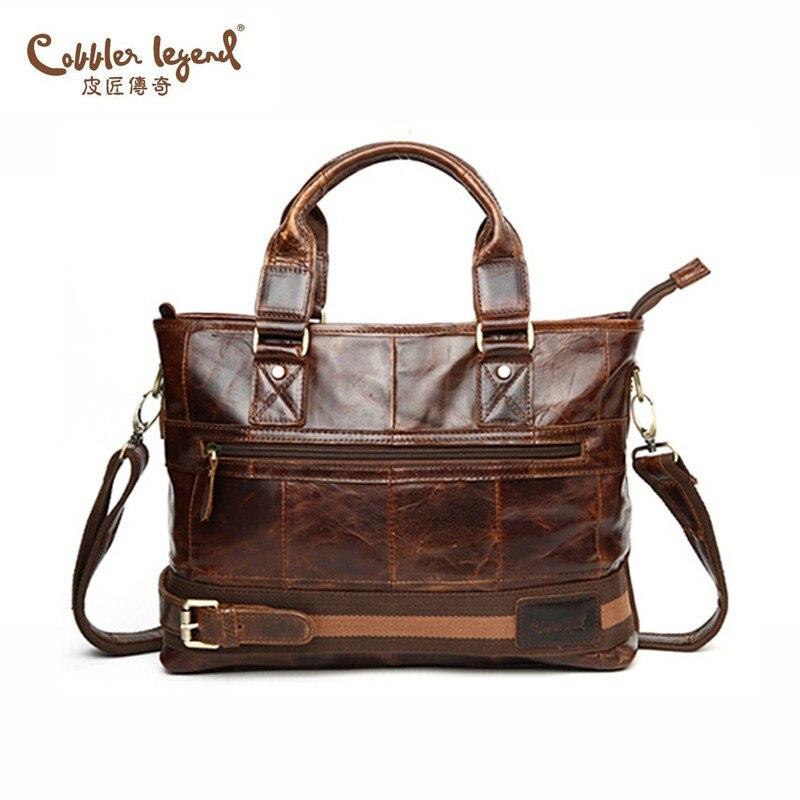 Cobbler Legend 2019 Для мужчин из натуральной кожи Винтаж Бизнес Для Мужчин's дорожные сумки Tote Для мужчин Курьерская сумка, портфель для ноутбука су