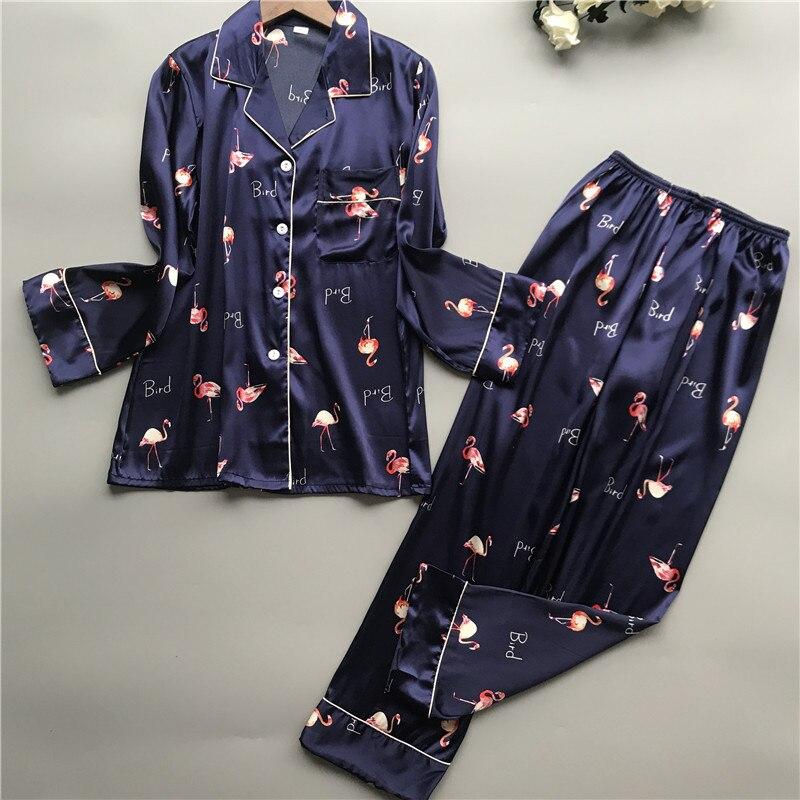 Print Pyjamas Women 2019 New Spring Fall Stitch Pijamas Set Silk Feeling Sleepwear Pajamas for women Pijama Feminino Pyjama
