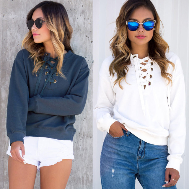 Winter New Long Sleeves Lace Up Sweater
