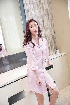 Size M-XXL Sleep Lounge Nightgowns & Sleepshirt Sleepwear BF Style Night Dress Nightwear Women Sexy Lingerie Indoor Dress 6