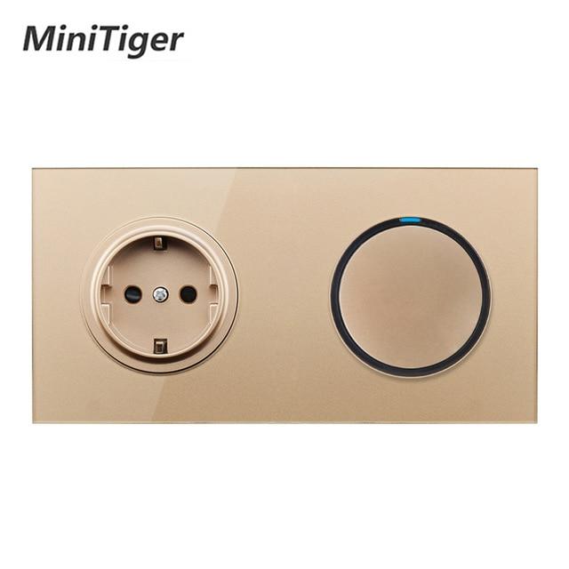 Minitiger Gold Crystal Glass Panel 16A EU Russia Standard Wall Power Socket 1 Gang 1 Way On / Off Light Switch LED Indicator