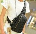 Design preto couro de homens mensageiro homens sacos de viagem sacos de ombro do vintage peito bolsos