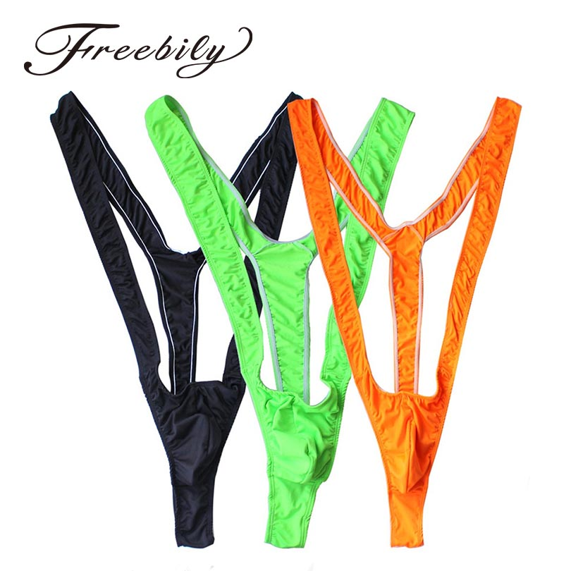 <font><b>2018</b></font> Hot <font><b>Men</b></font> <font><b>Lingerie</b></font> Bright Fluoro <font><b>Sexy</b></font> <font><b>Men</b></font> Mankini Thong Stretch Open Deep V-Neck Borat <font><b>Men</b></font> Beach Swimwear Swimsuit image