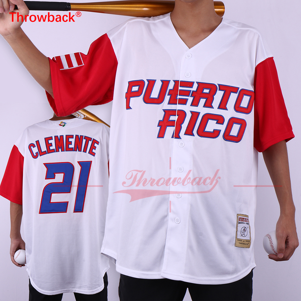 Throwback PUERTO RICO #21 Roberto Clemente Jersey World Baseball Classic Baseball Jersey S-3XL Free Shipping
