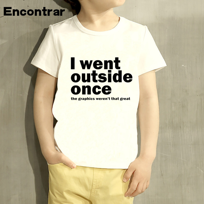Kids I Went Outside Once but the Graphics Design Baby Boys/Girl TShirt Kids Funny Short Sleeve Tops Children Cute T-Shirt,HKP822