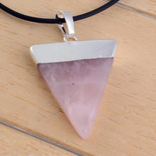 10Pc Silver Plated Triangle Rose Quartz Gem Stone Healing Chakra Pendant Fit Necklace