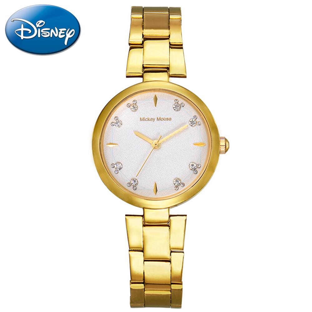 Disney Quartz-watch Stainless Watch Women Mockey Modern New Fashion Gift Clock Silver Rose Gold Tone Charming Montre MK-11022
