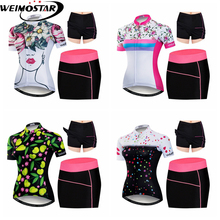 Weimostar Women's Cycling Jersey Quick Dry Cycling Clothing MTB Bike Bicycle Jersey Dress Sets Breathable Maillot Ciclismo