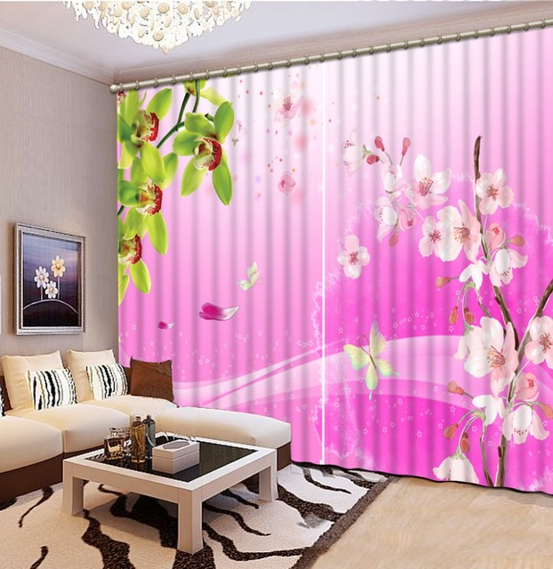 Home bedroom decoration 3d curtain pink flowers green leaves window home bedroom decoration 3d curtain pink flowers green leaves window curtains blackout curtain fabric hook mightylinksfo
