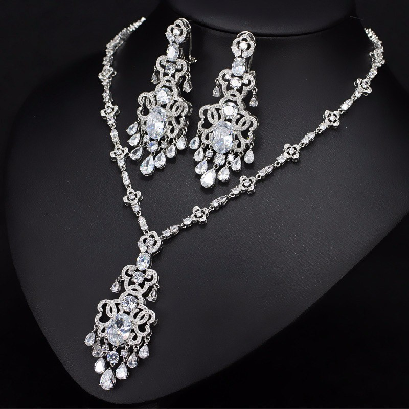 ANGELCZ romantique rouge CZ couleur argent grande goutte boucles d'oreilles et collier pour les femmes éblouissant cristal de noël fête bijoux ensemble AJ066 - 4