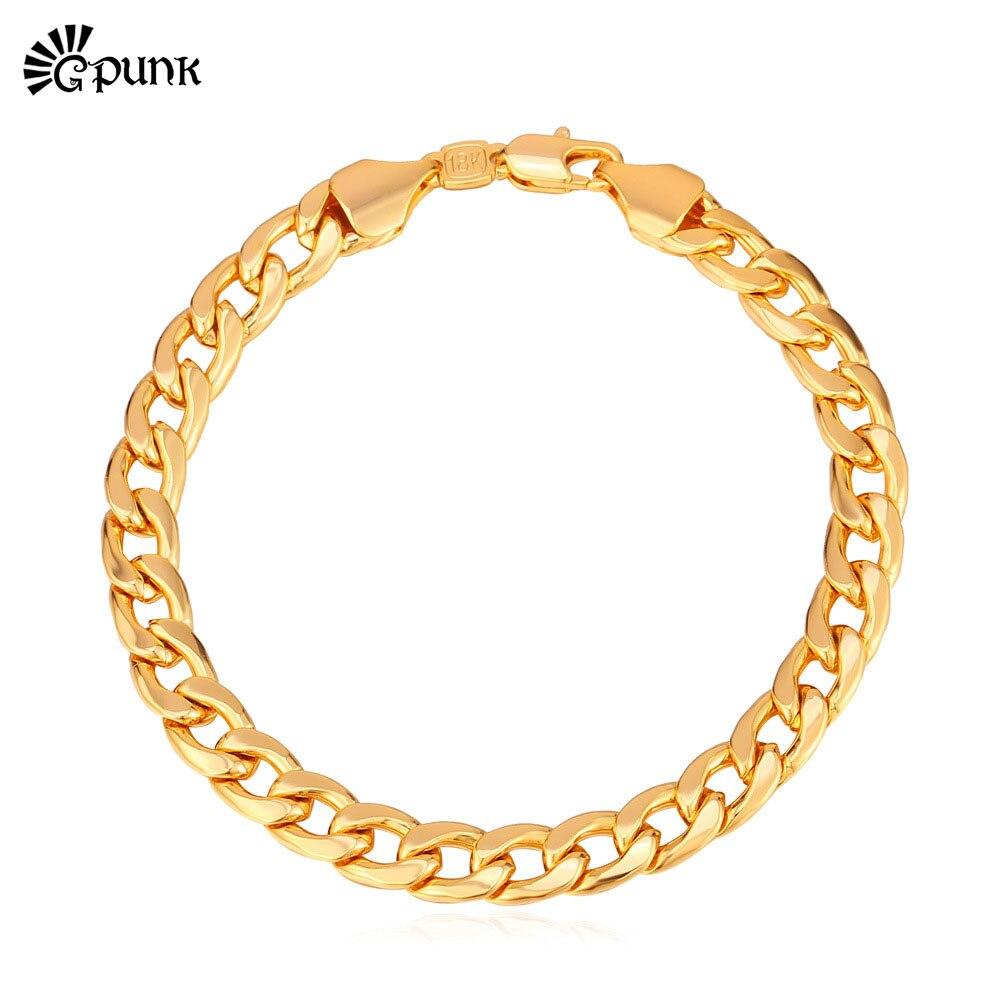 Hot Trendy Bracelets Men Jewelry Accessories 21cm 8mm Thick Cuban Link Chain  Yellow Gold Color Men Bracelet H5456