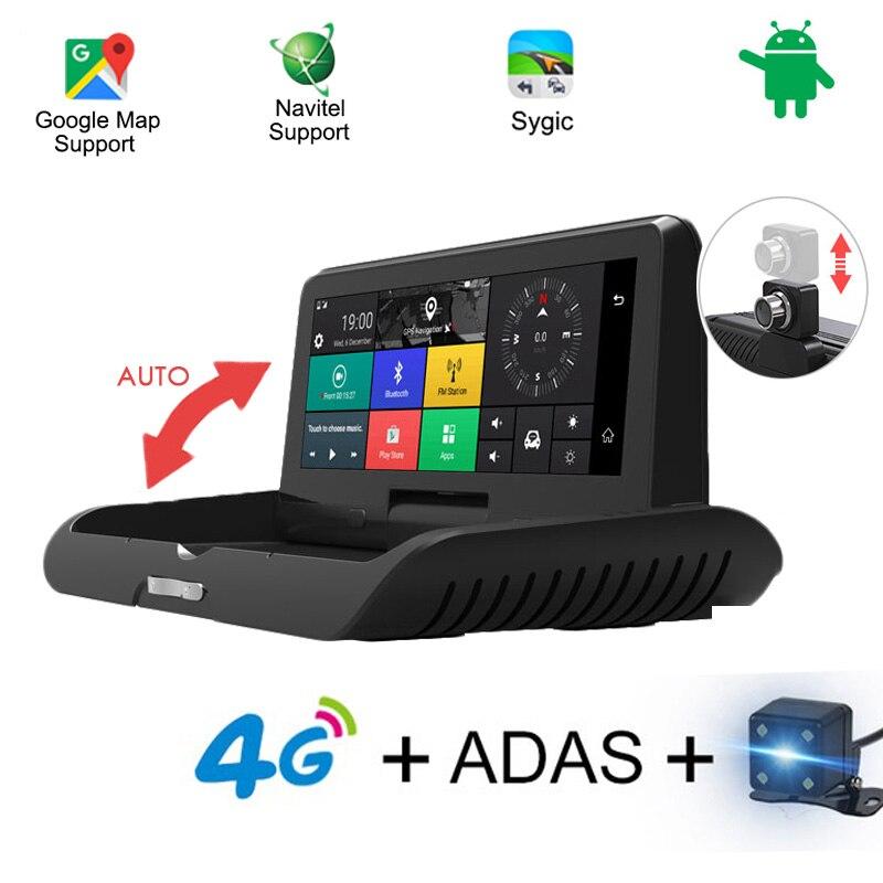 4G Auto 8 pouces IPS Android 5.1 WIFI FHD 1080 P double lentille registraire Parking surveillance Bluetooth ADAS voiture GPS DVR caméra Navigation