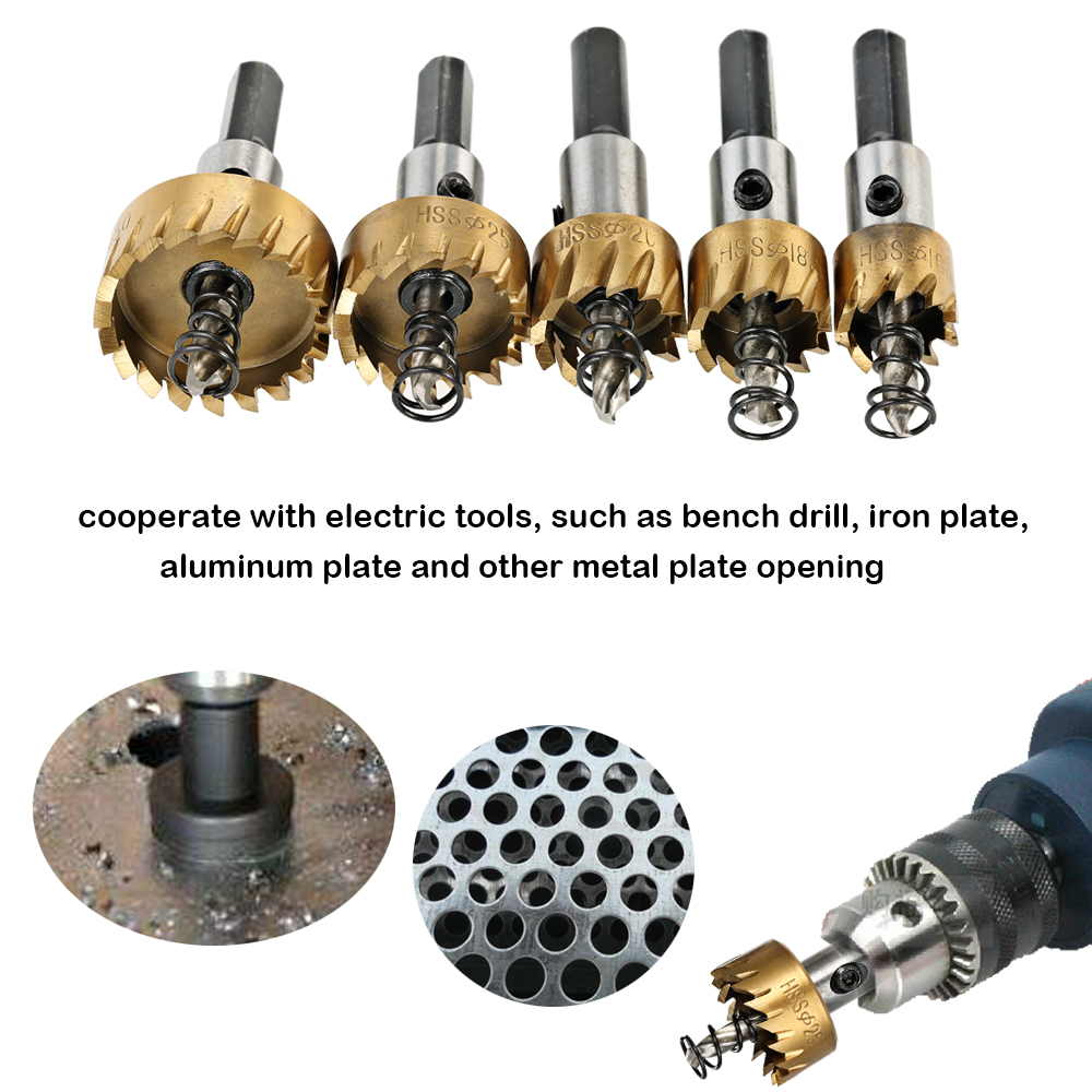 5PCS Power Tools HSS 6542 Titanium Coated Drill Bits Set High Speed Steel Hole Saw wood Cutter Tool Saw Tooth 16/18.5/20/25/30mm new 50mm concrete cement wall hole saw set with drill bit 200mm rod wrench for power tool