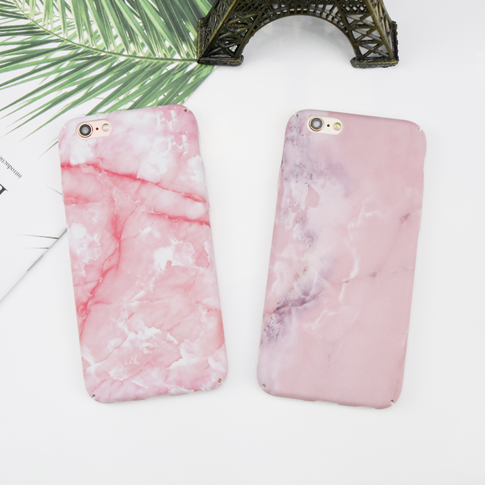 Luxury Pink Stone Texture Marble Case For iPhone 7 Case For iPhone X 8 7 6 6s Case Hard  ...