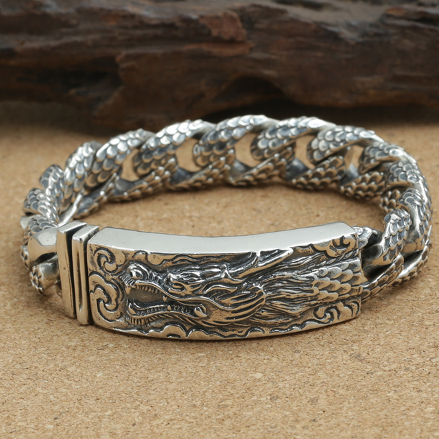 Handcrafted Thailand 925 Silver Dragon Bracelet Vintage Sterling Real Pure Man