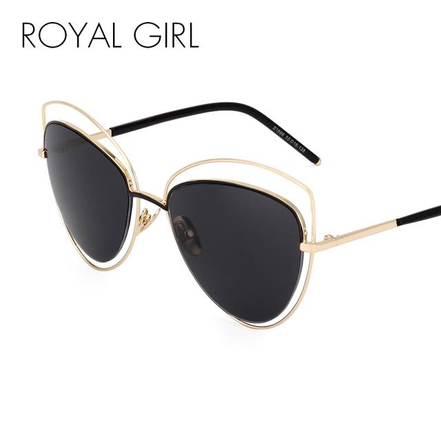 ROYAL GIRL Brand Designer Cat Eye Sunglasses Women Newest Alloy Frame  Reflective Sun Glasses Oculos De 088c41aed9