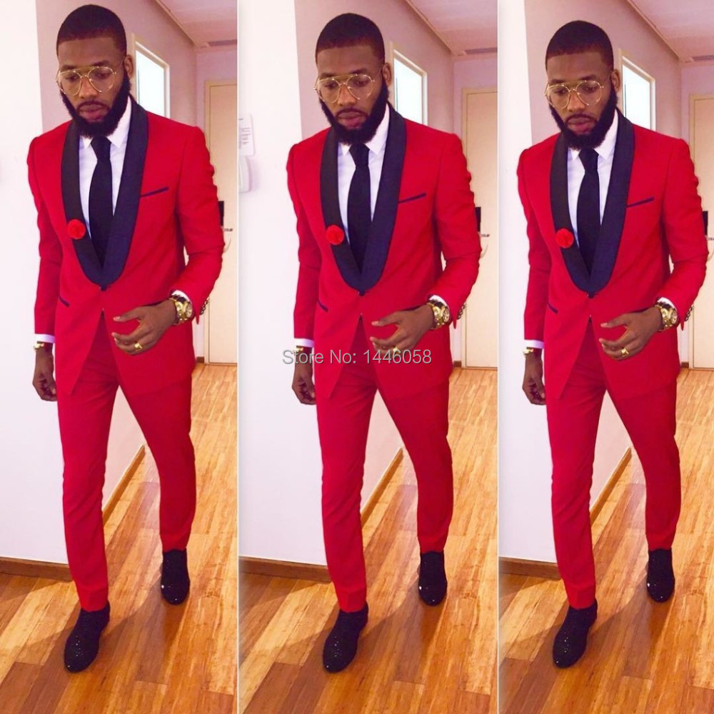 Custom Made Slim Fit Black Lapel Red Groom Tuxedos Men's Wedding ...