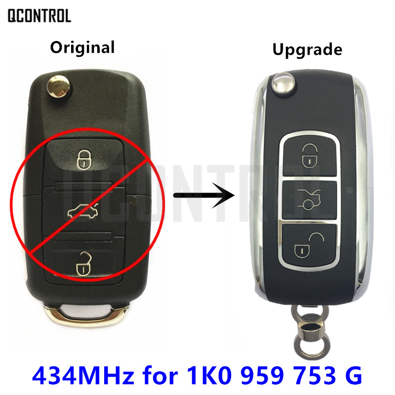 QCONTROL Upgrade Remote Key 1K0959753G for VW/VOLKSWAGEN 434MHz CADDY/EOS/GOLF/JETTA/SIROCCO/TIGUAN/TOURAN 1K0 959 753 G / 753G