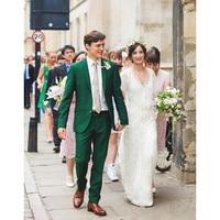 Men Prom Suits Custom Made Groomsmen Notch Lapel Groom Tuxedos Green Mens Suits Wedding Best Man (Jacket+Pants) B812