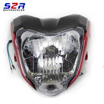 Evrensel Yarış Motosiklet Far Ampul Ve Braketi YAMAHA Için Kullanılan FZ16 FZER150 Kırmızı Siyah Mavi Gri Renk Far
